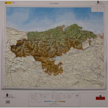 Mapa Cantabria relieve...