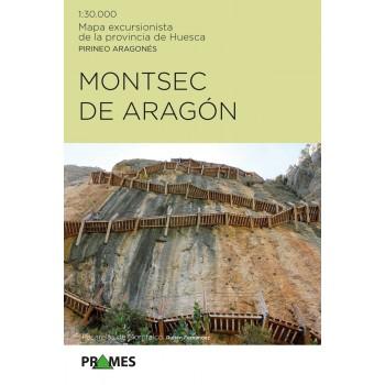 Montsec de Aragón. Mapa excursionista de la provincia de Huesca. Pirineo Aragonés